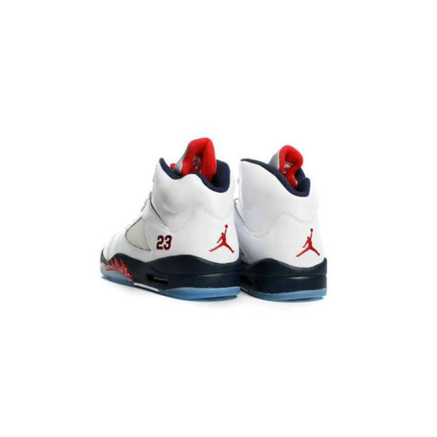 best website cf9fd 8021f 136027-103 Air Jordan 5 (V) Olympic White Midnight Navy Varsity Red (Women  Men Gs Girls) A05003