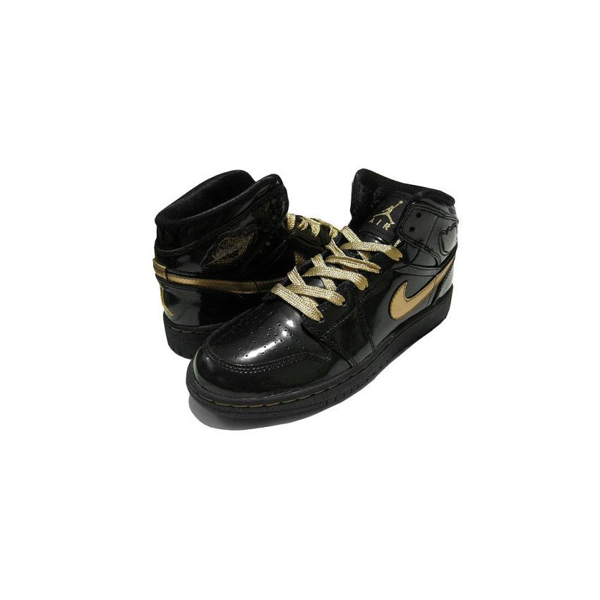 sports shoes a2e21 cd7fe 364781-001 Air Jordan 1 phat (gs) girls black metallic gold A24019